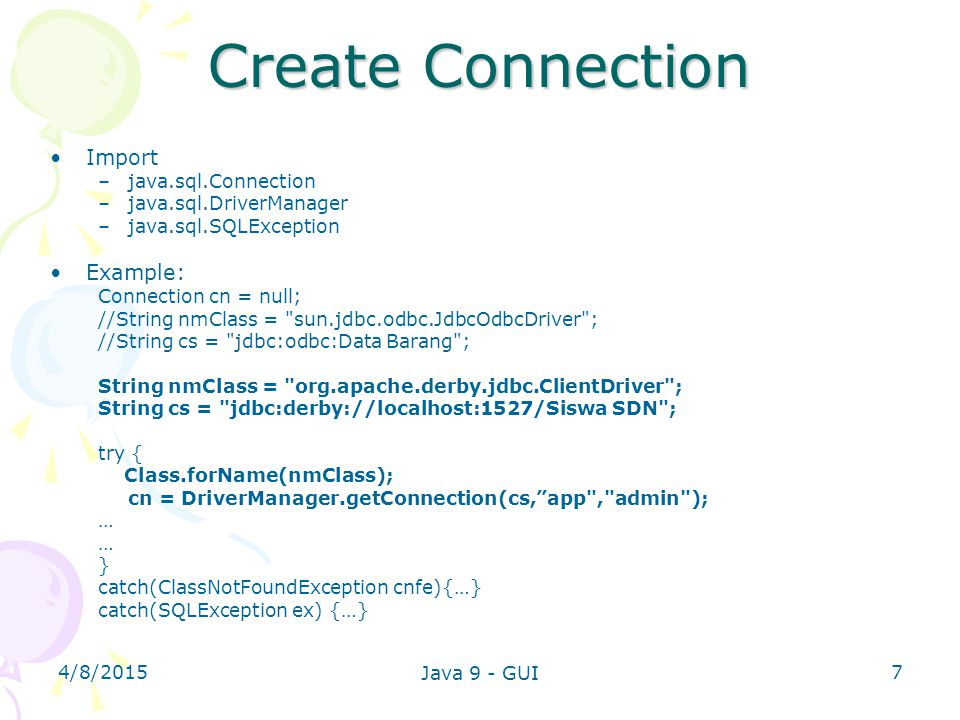 Create Connection Import Example: java.sql.Connection