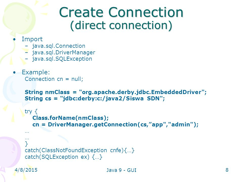 Create Connection (direct connection)
