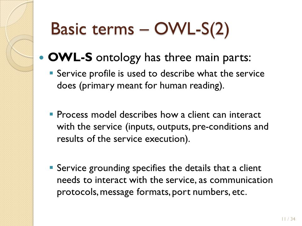 Basic terms – OWL-S(2) OWL-S ontology has three main parts: