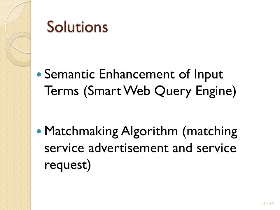 Solutions Semantic Enhancement of Input Terms (Smart Web Query Engine)