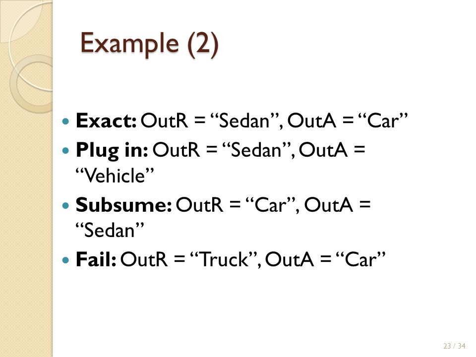Example (2) Exact: OutR = Sedan , OutA = Car