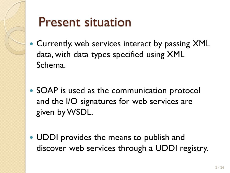 Present situation Currently, web services interact by passing XML data, with data types specified using XML Schema.