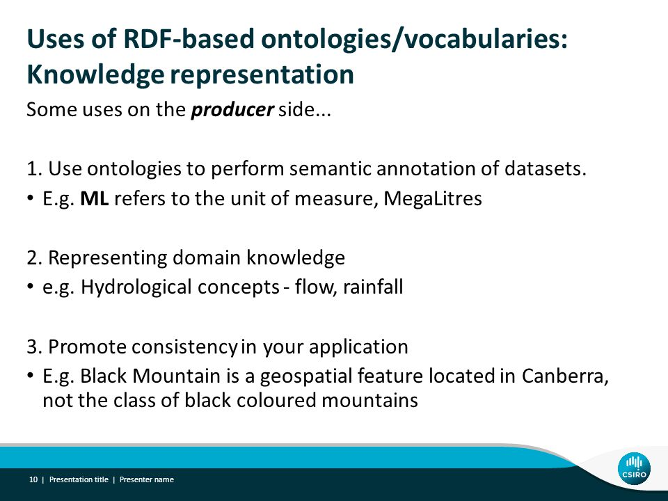 Uses of RDF-based ontologies/vocabularies: Knowledge representation