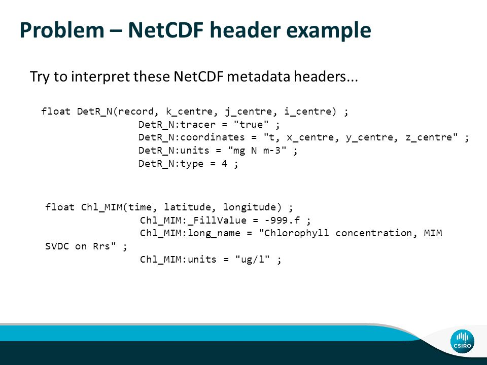 Problem – NetCDF header example