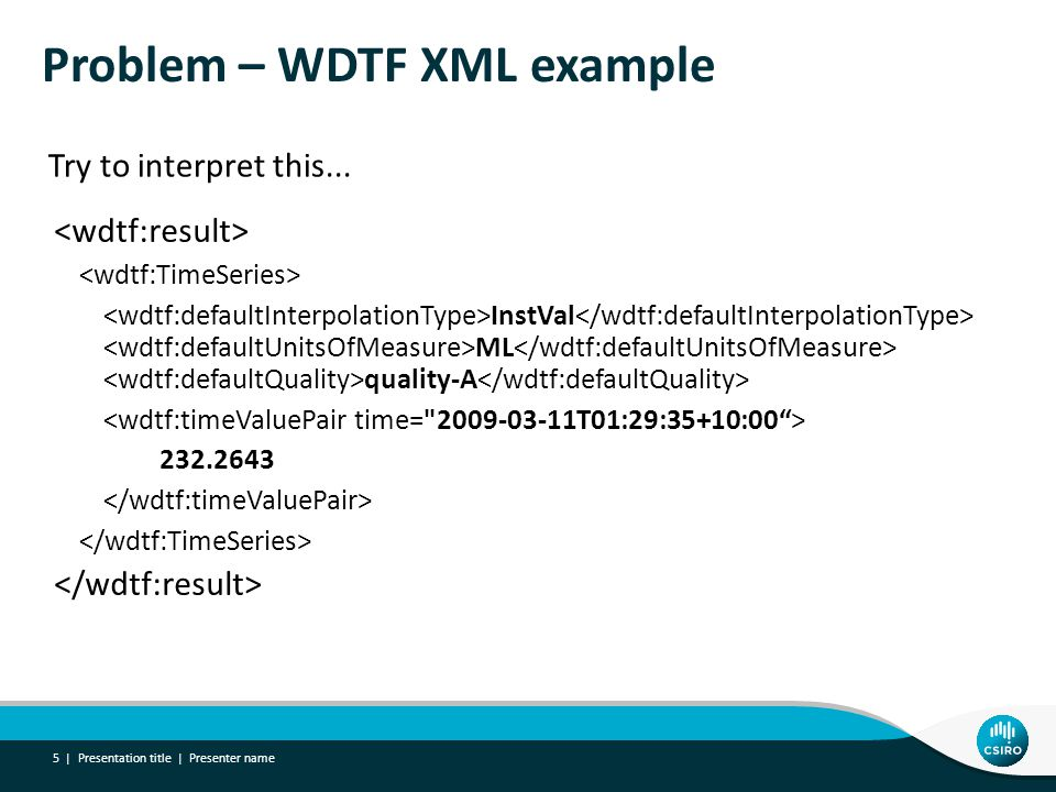 Problem – WDTF XML example