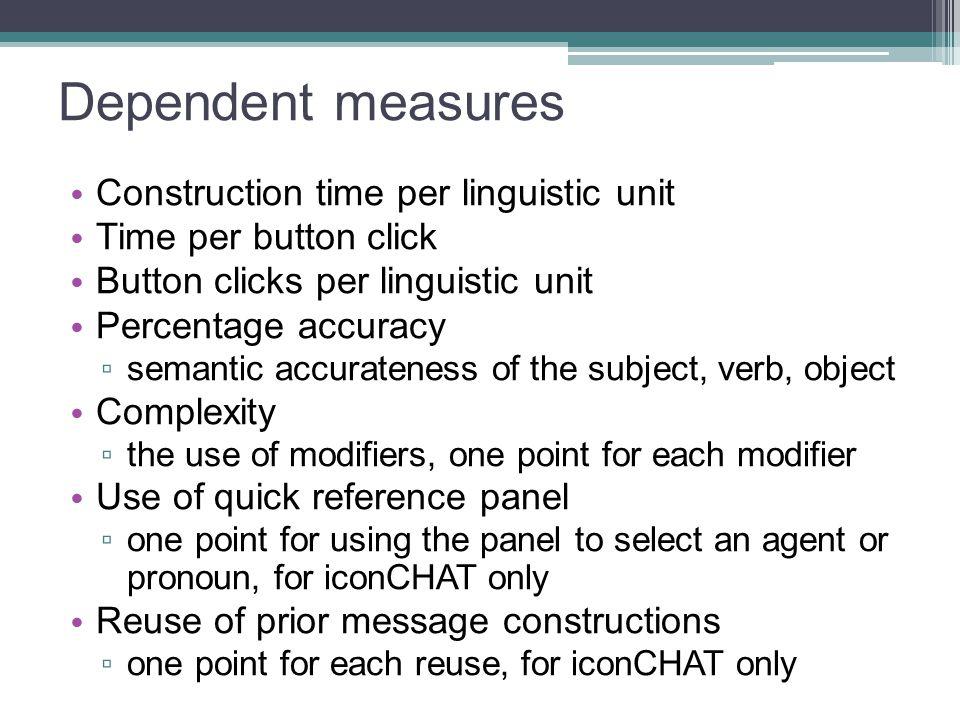 Dependent measures Construction time per linguistic unit