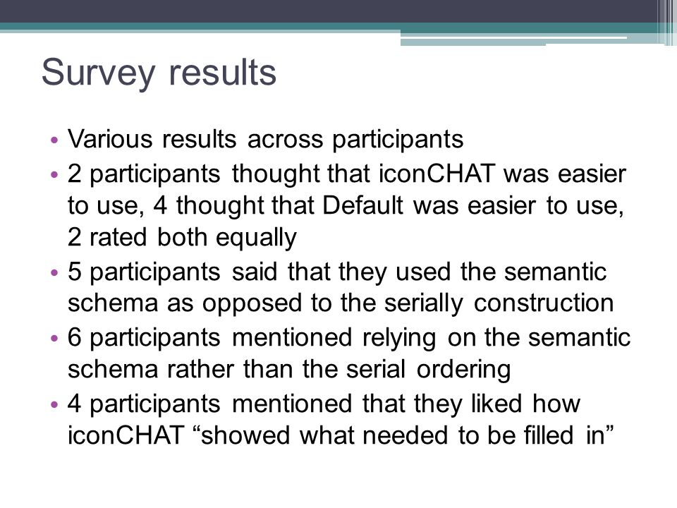 Survey results Various results across participants