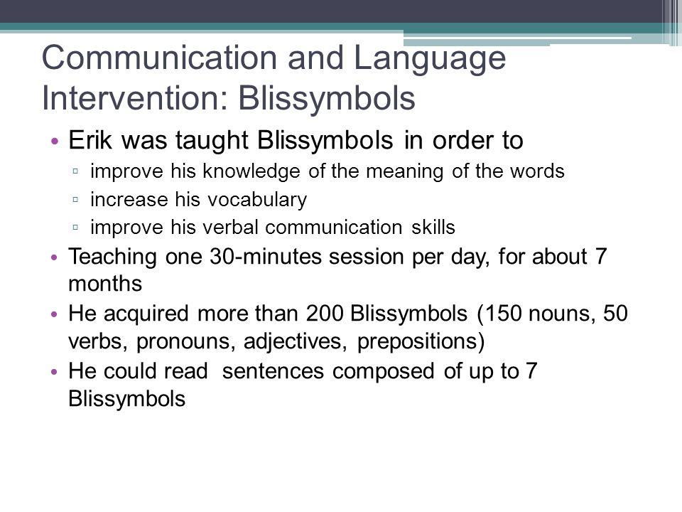 Communication and Language Intervention: Blissymbols