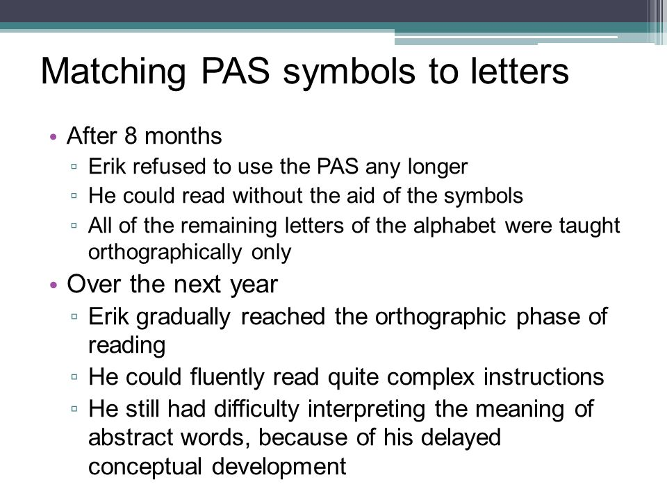 Matching PAS symbols to letters