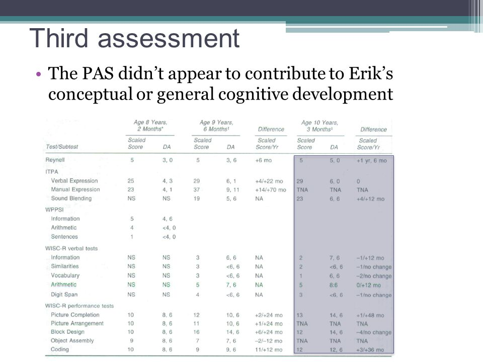 Third assessment The PAS didn't appear to contribute to Erik's conceptual or general cognitive development.