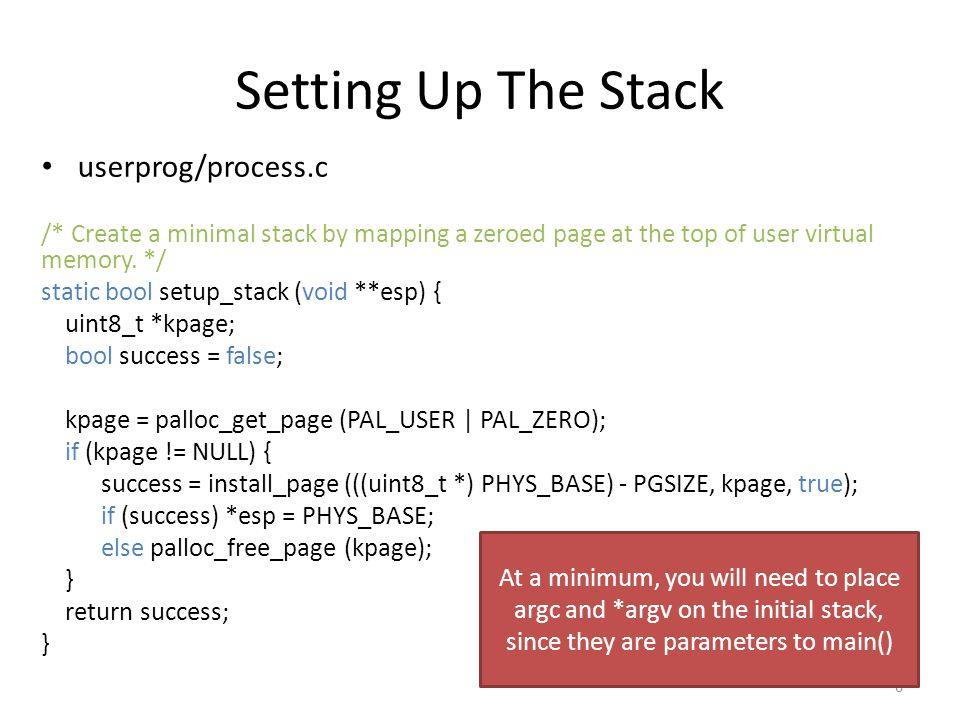 Setting Up The Stack userprog/process.c