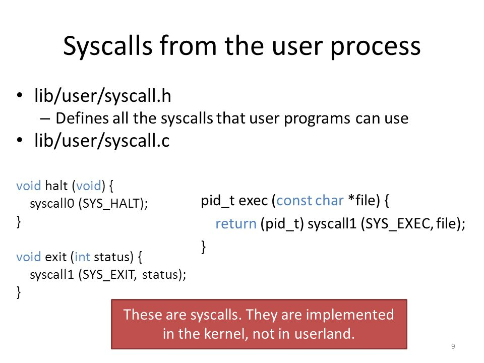 Syscalls from the user process