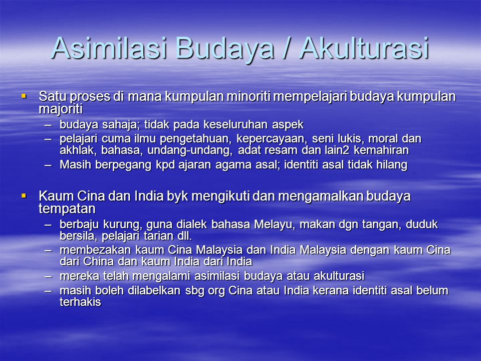 Asimilasi Budaya / Akulturasi
