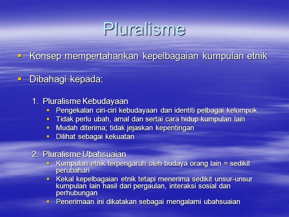 Pluralisme Konsep mempertahankan kepelbagaian kumpulan etnik