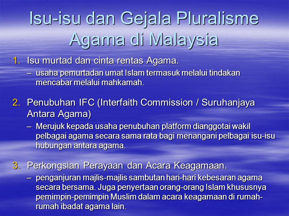Isu-isu dan Gejala Pluralisme Agama di Malaysia