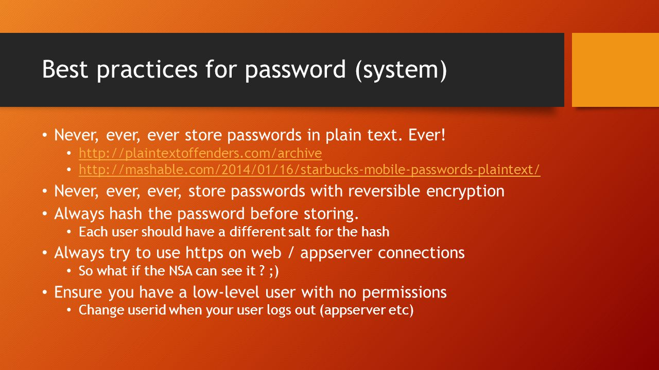 Best practices for password (system)