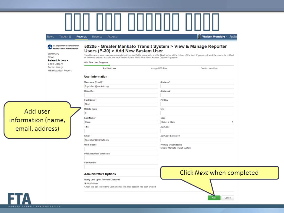 Add New System User Add user information (name, email, address)
