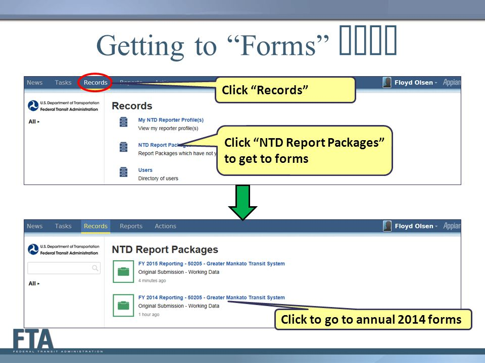 Getting to Forms Page