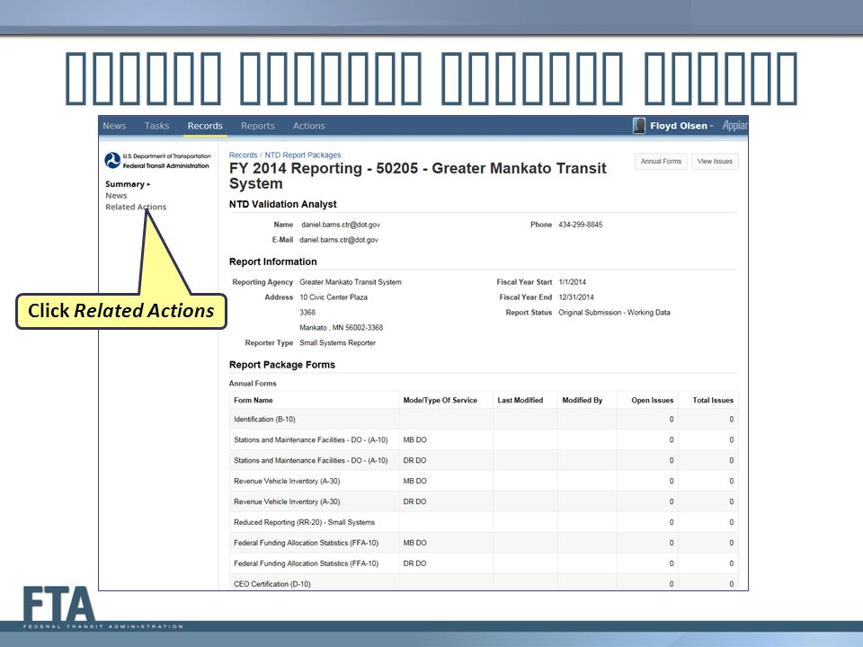 Report Package Summary Screen