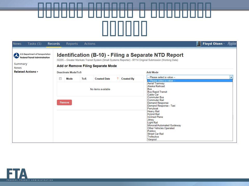 Update Filing a Separate Report