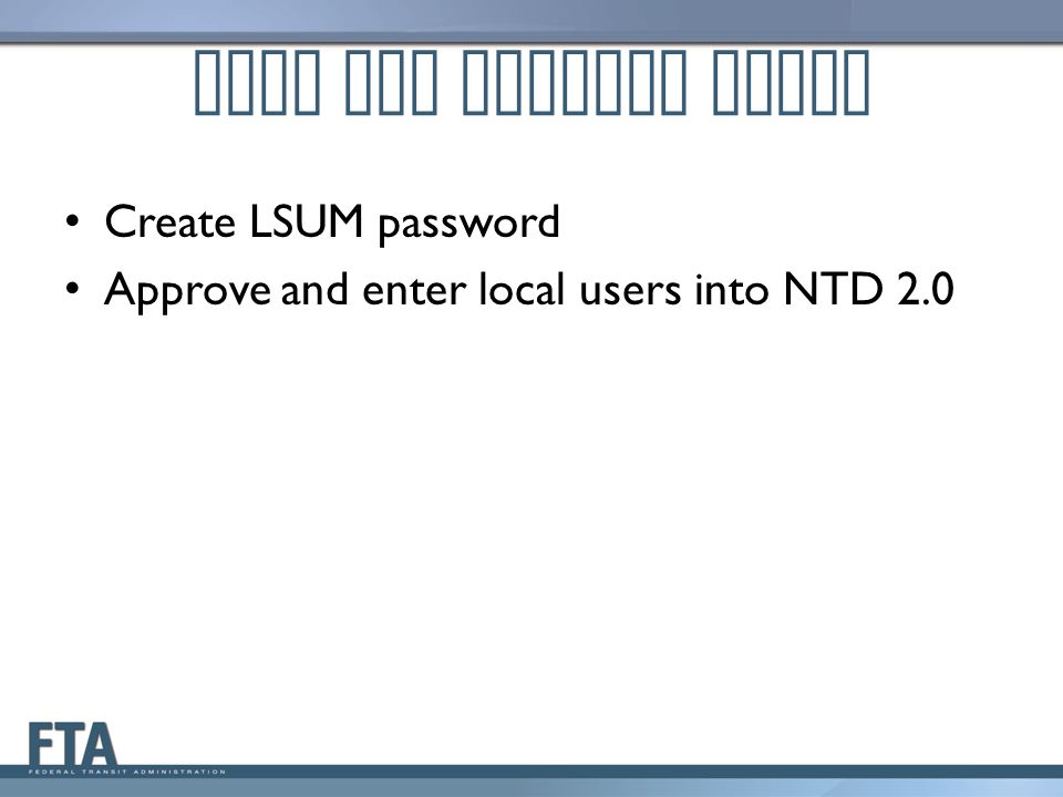 LSUM NTD Startup Tasks Create LSUM password