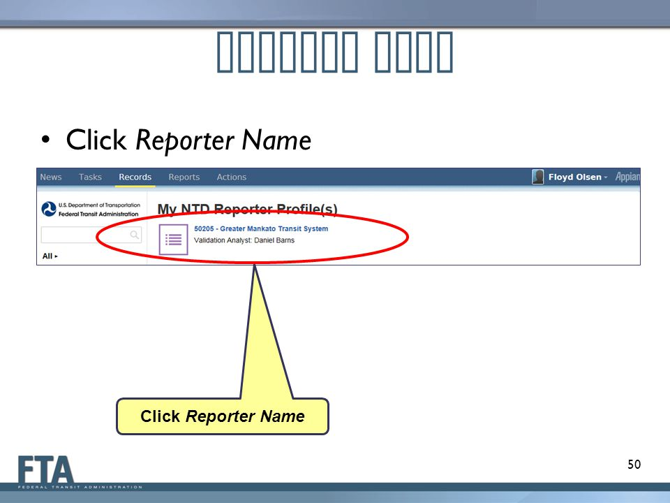 Profile Page Click Reporter Name Click Reporter Name