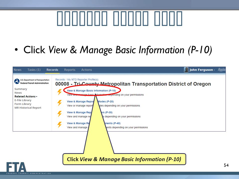 Click View & Manage Basic Information (P-10)
