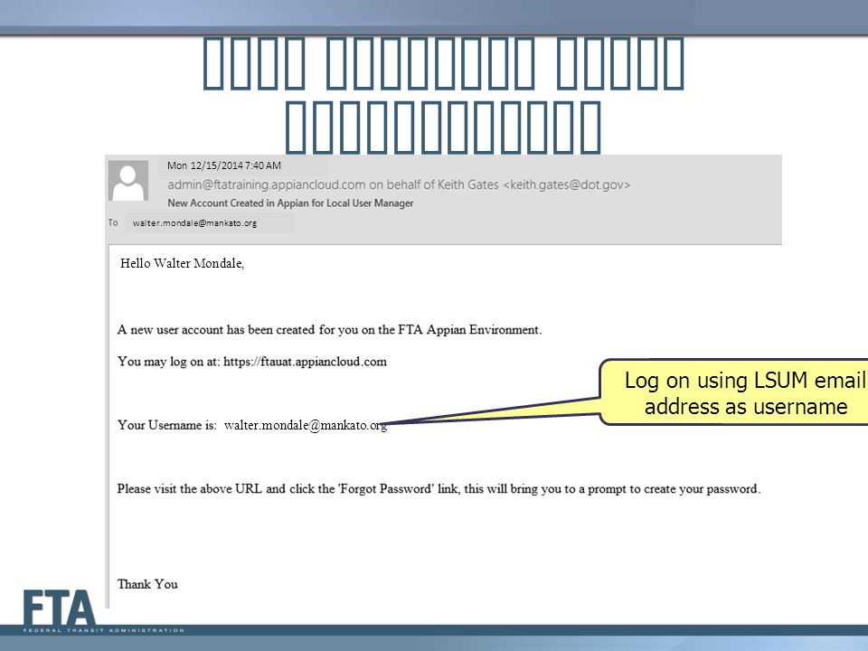 LSUM Receives Email Instructions