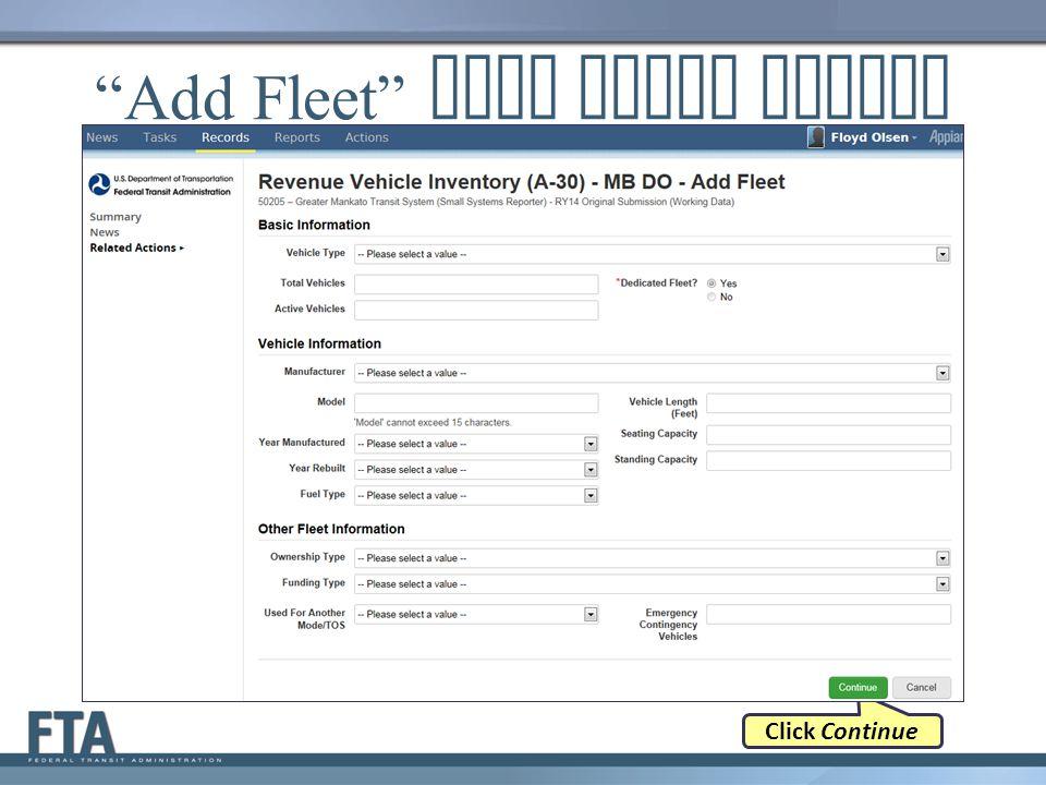 Add Fleet Data Entry Screen