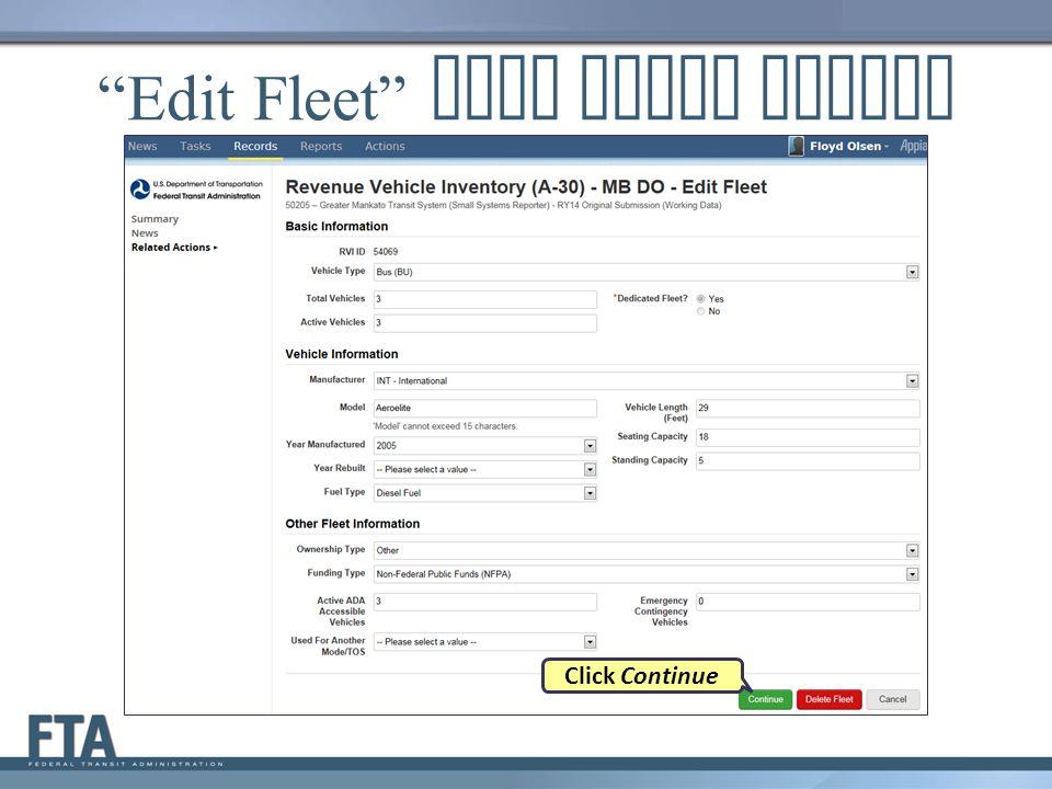 Edit Fleet Data Entry Screen