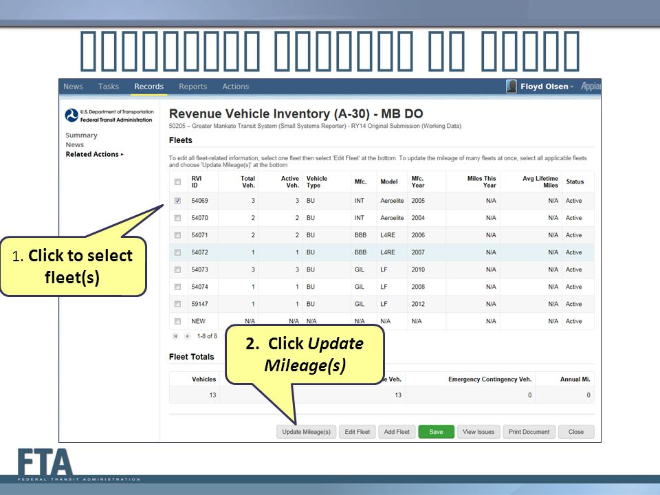 Reporting Mileage by Fleet