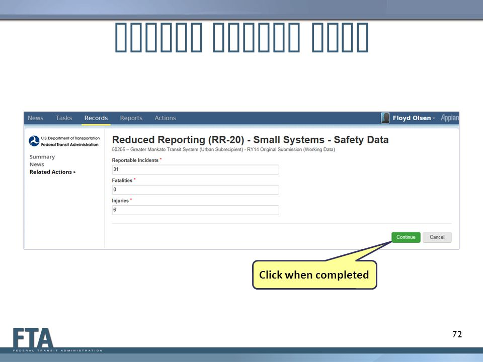 Update Safety Data Click when completed