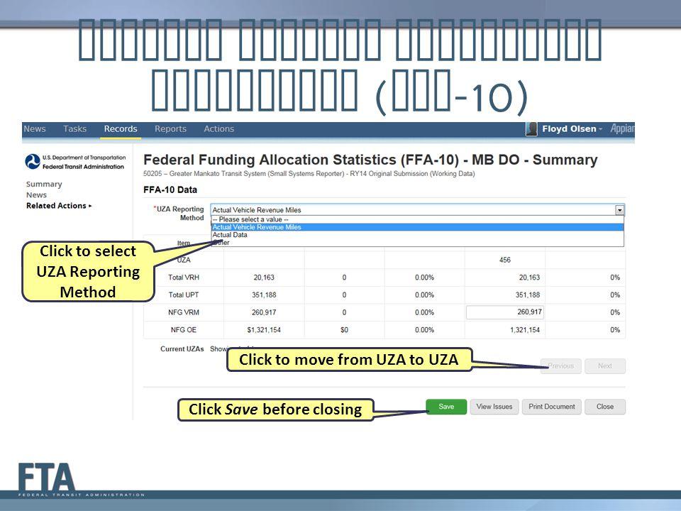 Federal Funding Allocation Statistics (FFA-10)