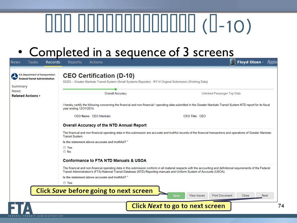 CEO Certification (D-10)