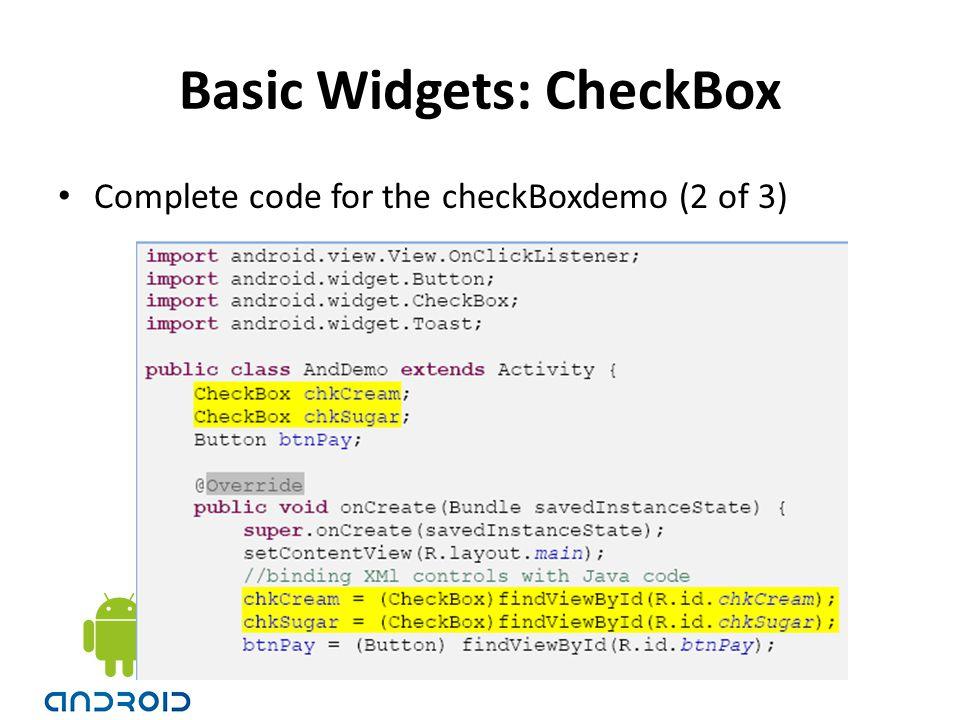 Basic Widgets: CheckBox
