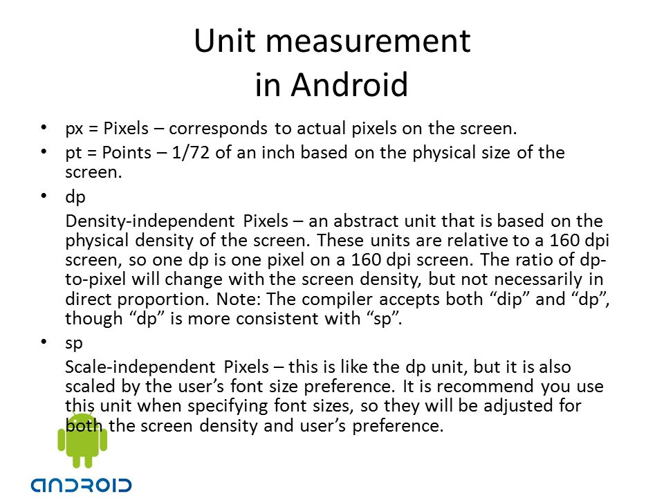 Unit measurement in Android