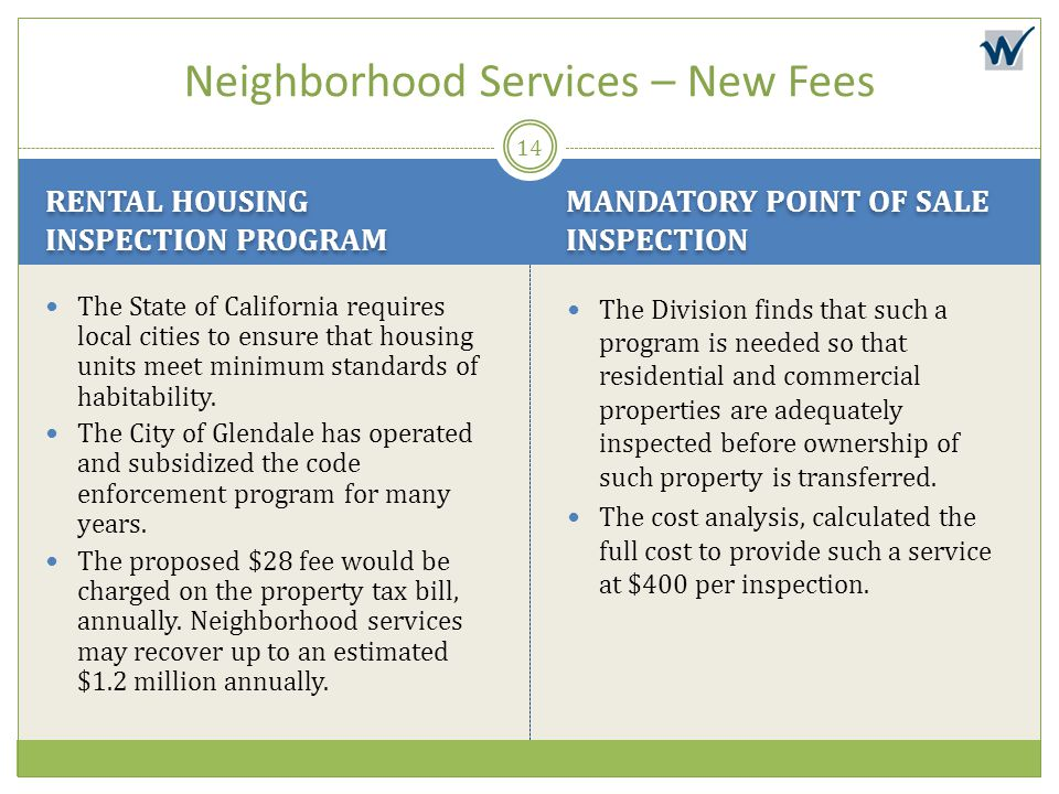 Neighborhood Services – New Fees