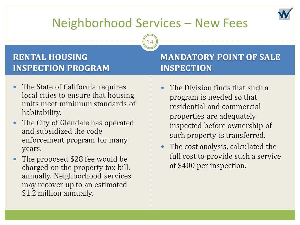 Neighborhood Services – New Fees