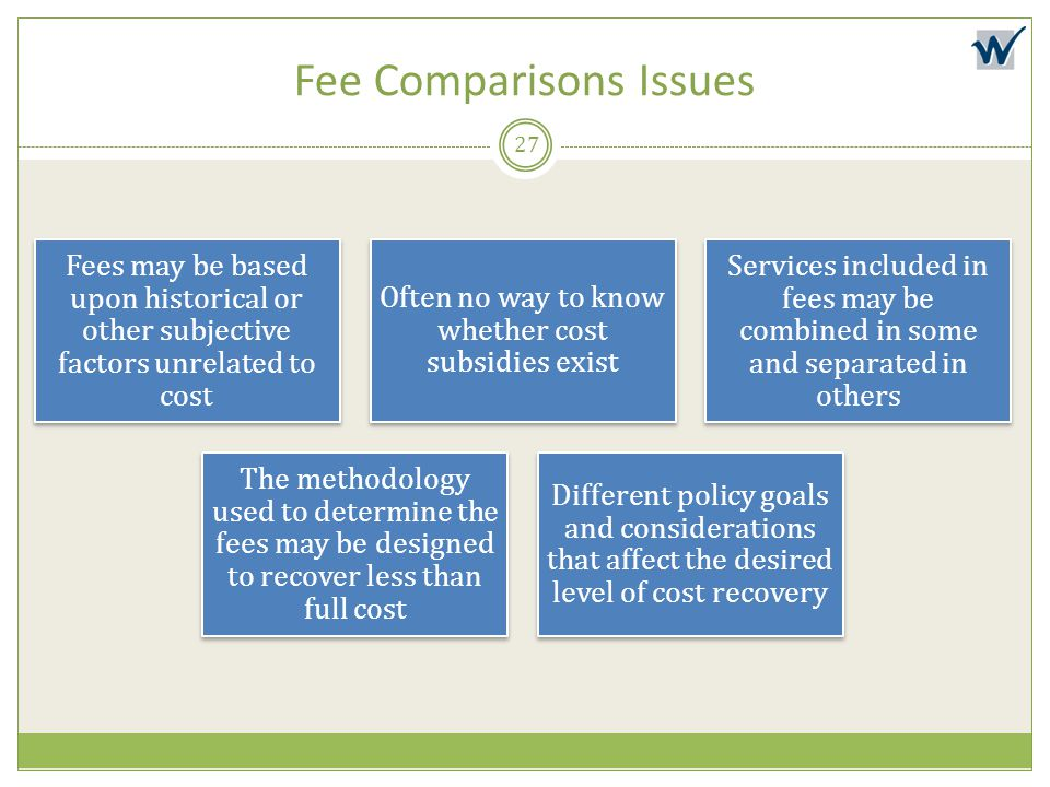 Fee Comparisons Issues