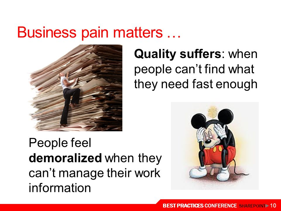 Business pain matters …
