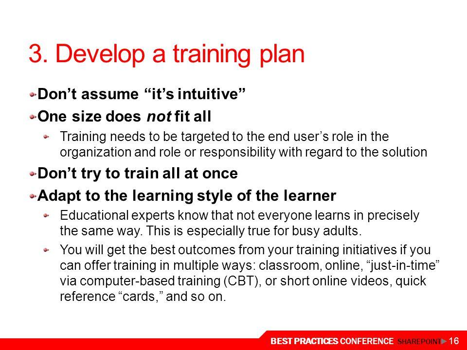 3. Develop a training plan