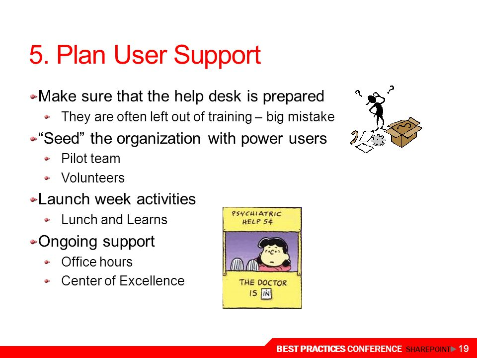 5. Plan User Support Make sure that the help desk is prepared