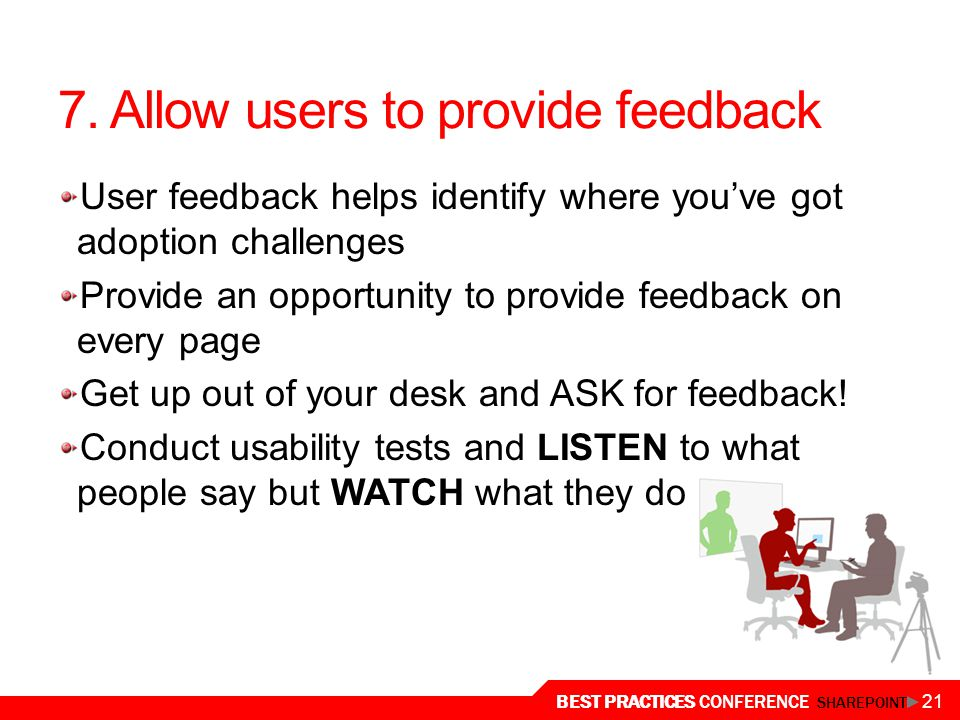 7. Allow users to provide feedback