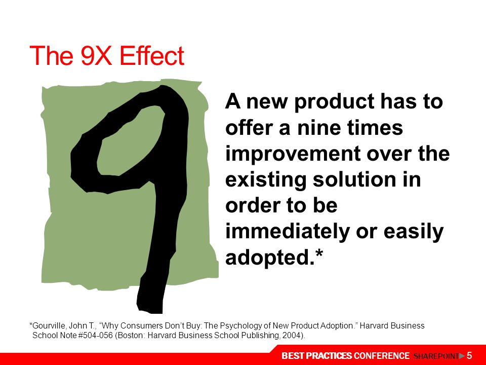 The 9X Effect A new product has to offer a nine times improvement over the existing solution in order to be immediately or easily adopted.*
