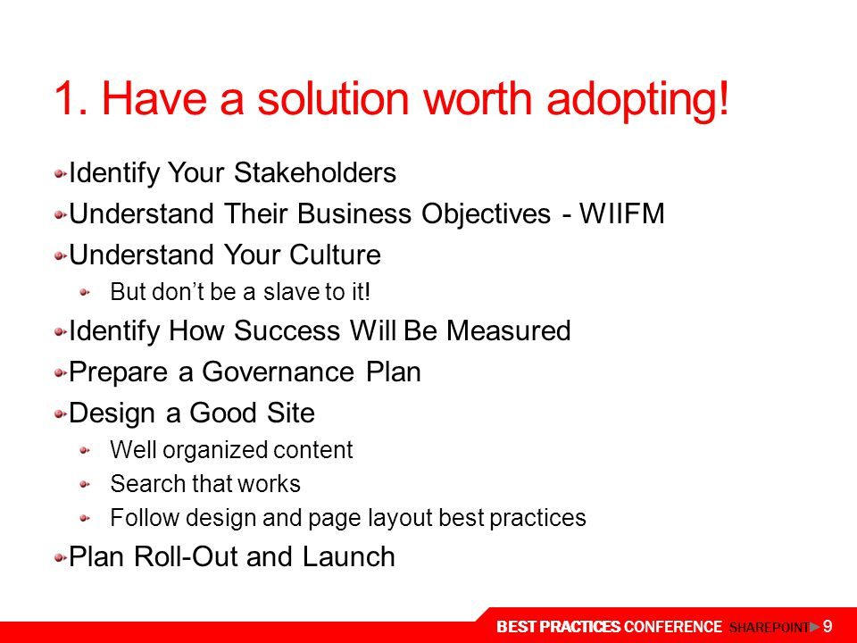 1. Have a solution worth adopting!