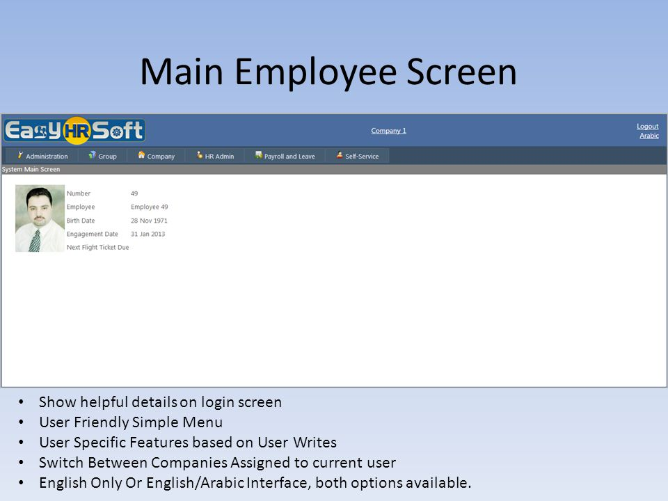 Main Employee Screen Show helpful details on login screen