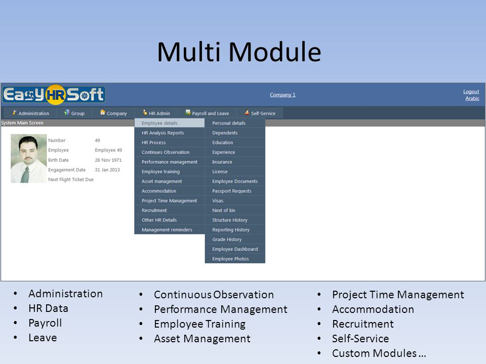 Multi Module Administration HR Data Payroll Leave