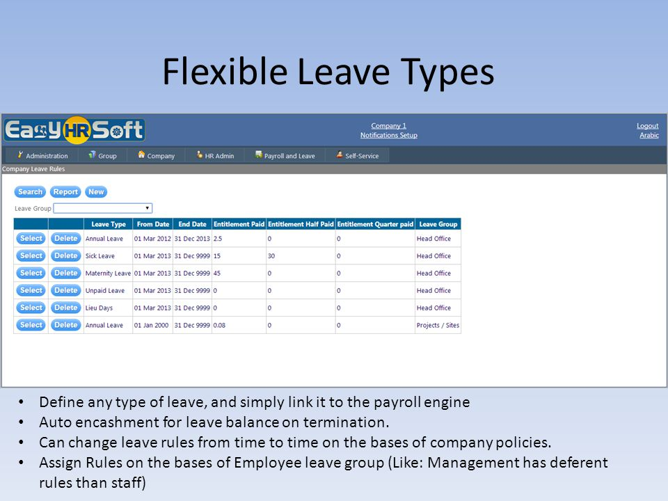 Flexible Leave Types Define any type of leave, and simply link it to the payroll engine. Auto encashment for leave balance on termination.