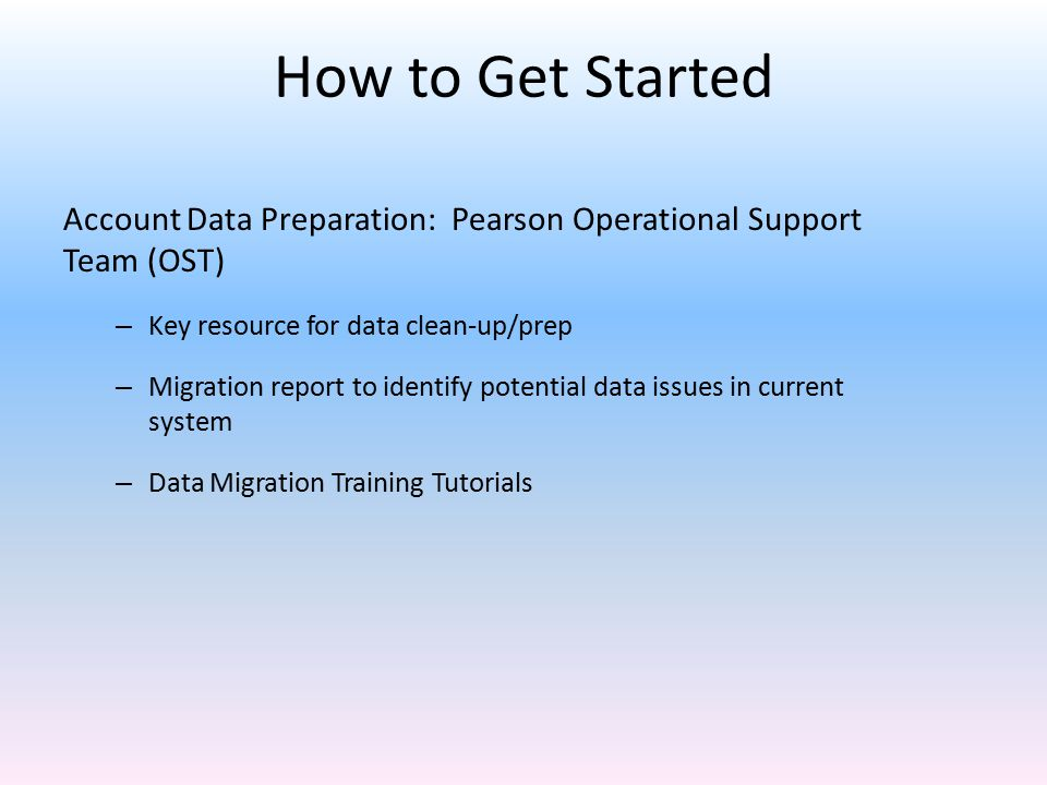 How to Get Started Account Data Preparation: Pearson Operational Support Team (OST) Key resource for data clean-up/prep.