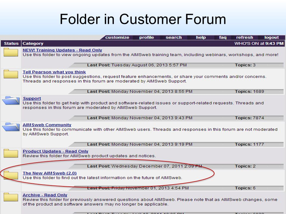Folder in Customer Forum